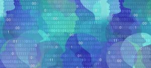 Image of binary code and virtual faces